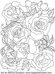 valentines day roses flowers free printable adult coloring pages - Free Printable Flower Coloring Pages For Adults