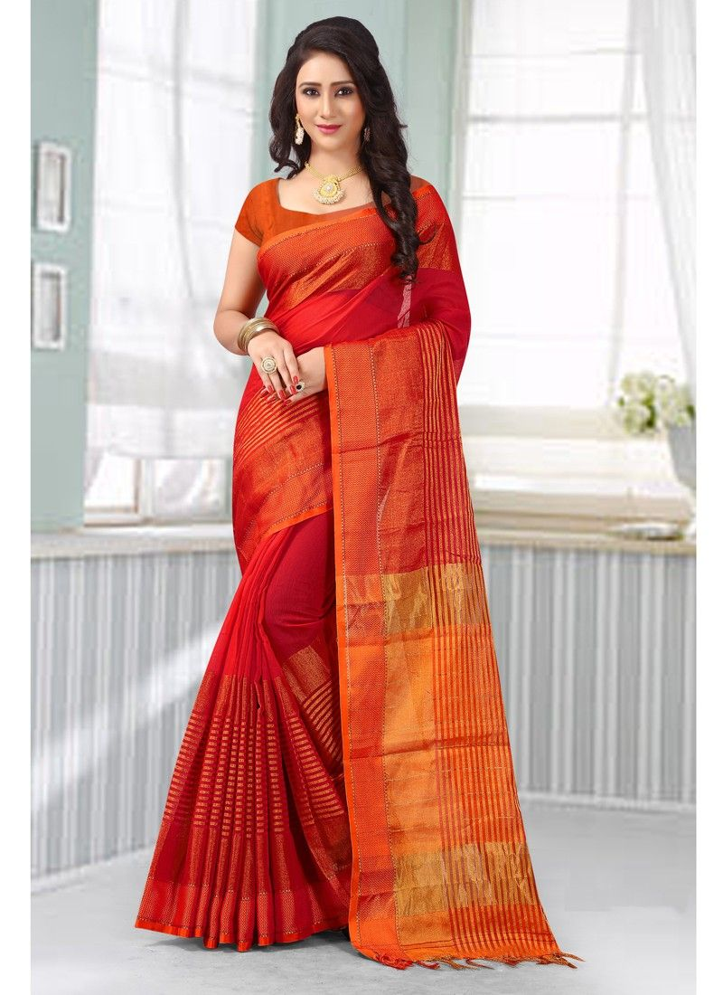 2258a4c1d1 Red Festival Wear Sarees, Cotton Silk Festival Wear Sarees, $33.26. Buy  latest Festival Wear Sarees with custom stitching and worldwide shipping.