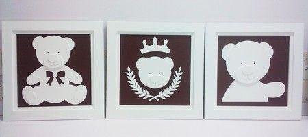 QUADRO PROVENÇAL MARROM  Decoração para quarto de bebê, kit quadros marrom…