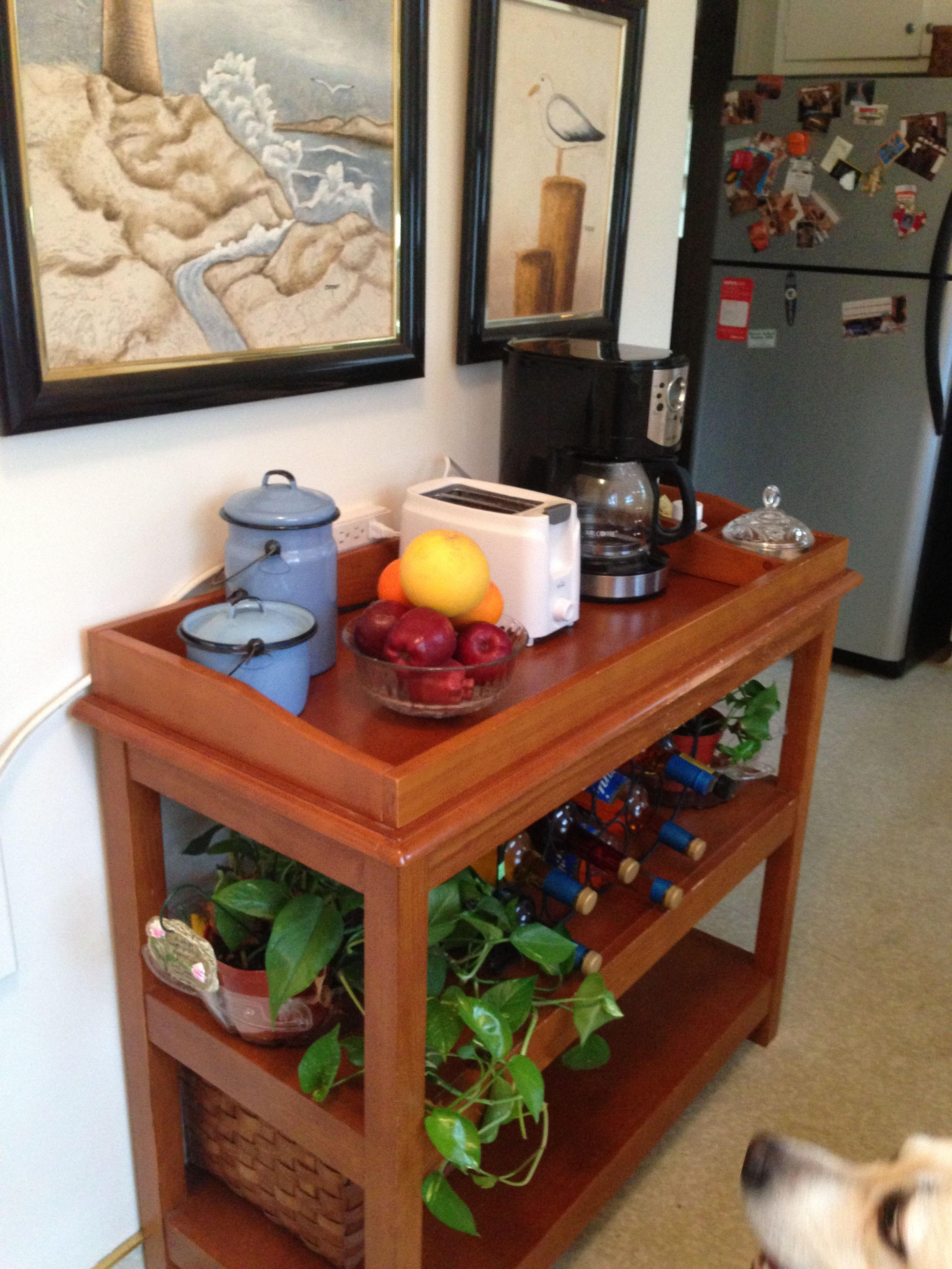 Repurpose baby changing table to coffee bar for kitchen repurpose