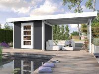 Weka Holz-Gartenhaus wekaLine Anthrazit 300 cm x 295 cm mit Anbau ...