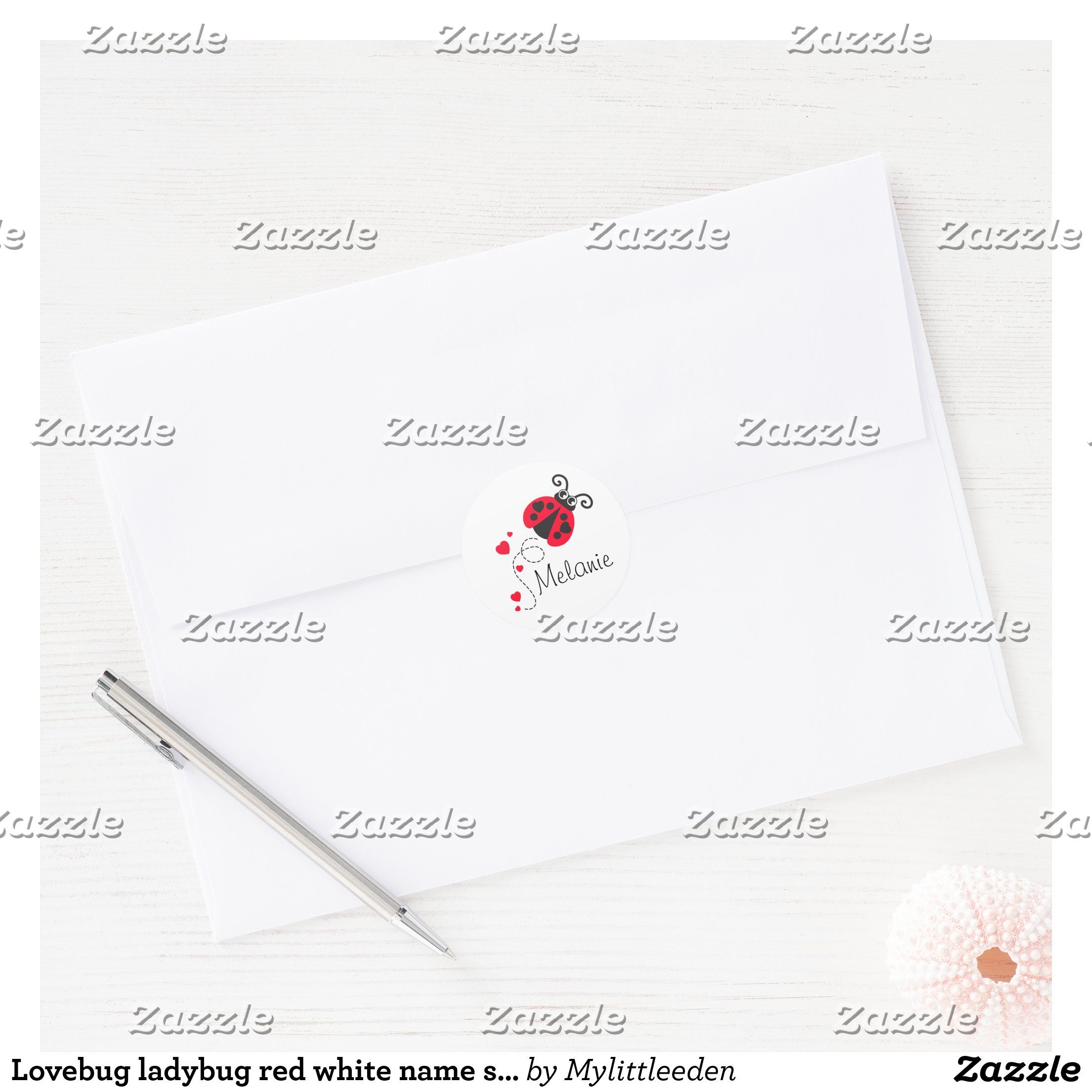 Lovebug ladybug red white name sticker | Zazzle.com