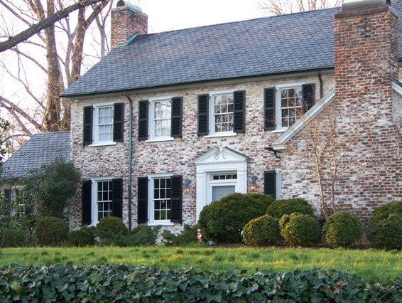 White Washed Brick Exterior Brick Colonial Style Homes House Exterior