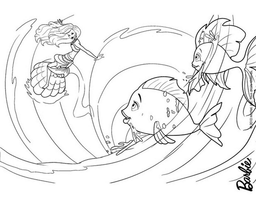 Barbie Mermaid Tale Coloring Pages Merliah Playing Fishes 429530 Jpg 1 048 811 Pixels