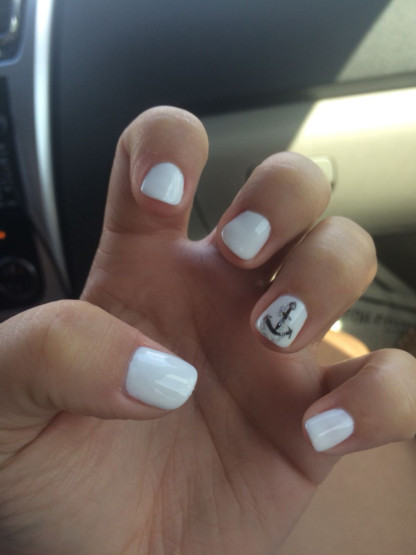 Summer nails. White shellac with black and silver anchor | Nails ...