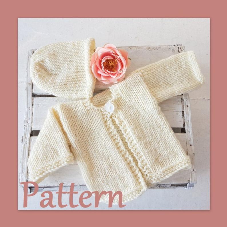 Easy Baby Cardigan Knitting PATTERN, Newborn baby jumper ...
