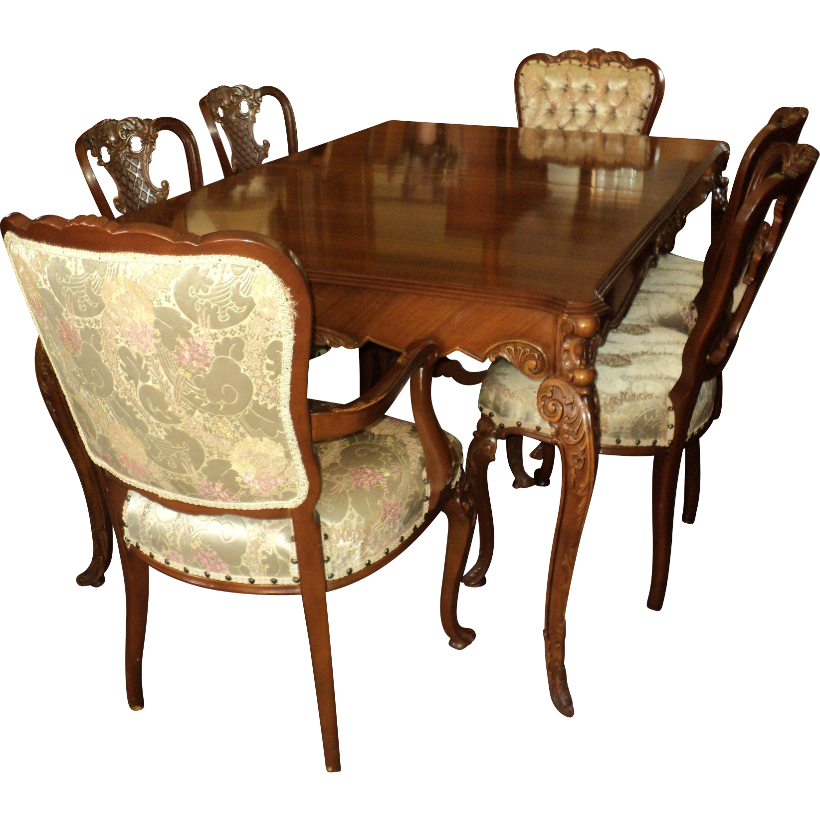 French Country Style Vintage Extendable Dining Table 1940: Country French Provincial 1940's Dining Room Set By Joerns