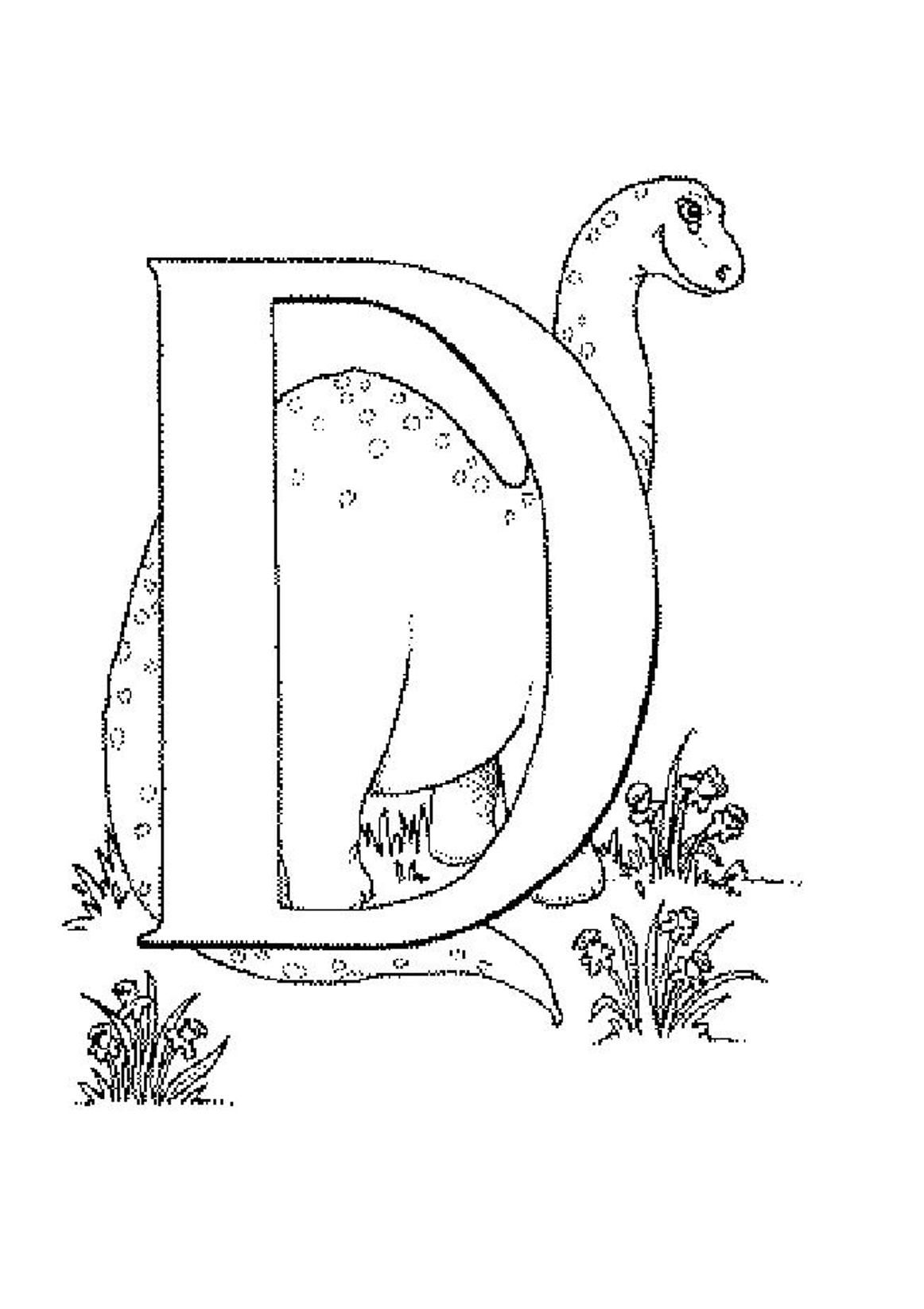 Printable Alphabet Coloring Pages D For Dino  Kids  Colouring