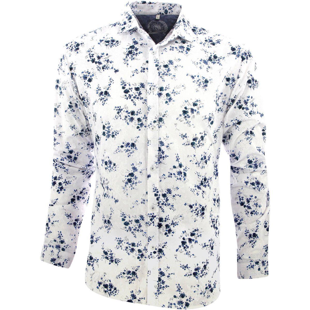 détaillant en ligne ebb33 11d65 Carnet de vol Chemise fleurs bleues bleu | DRESSING ...