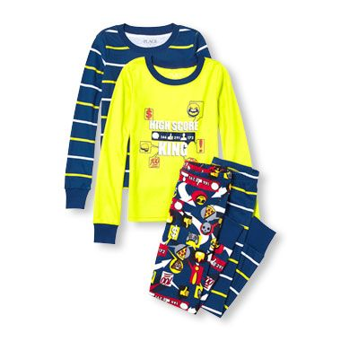 Boys Long Sleeve 'High Score King' And Striped Top And Pants 4-Piece PJ Set