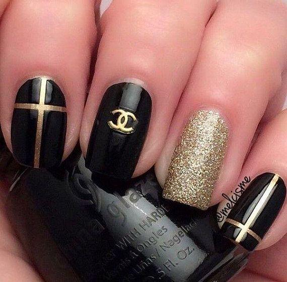 gold metal louis vuitton 3d nail