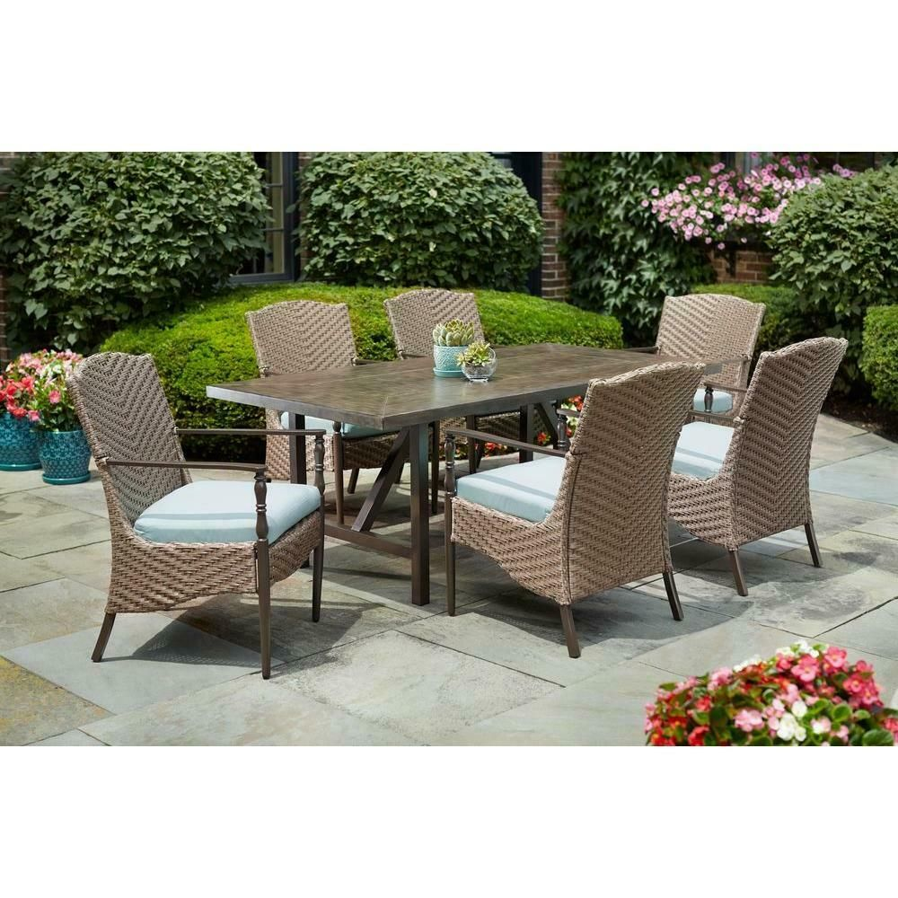 Patio Dining Set 7pc Wicker 6 Chairs Modern Aluminum Tabletop Outdoor Furniture Homedec Outdoor Patio Furniture Sets Outdoor Furniture Outdoor Patio Furniture