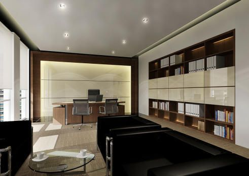 Contemporary home office furniture on decorating director for Director office interior design