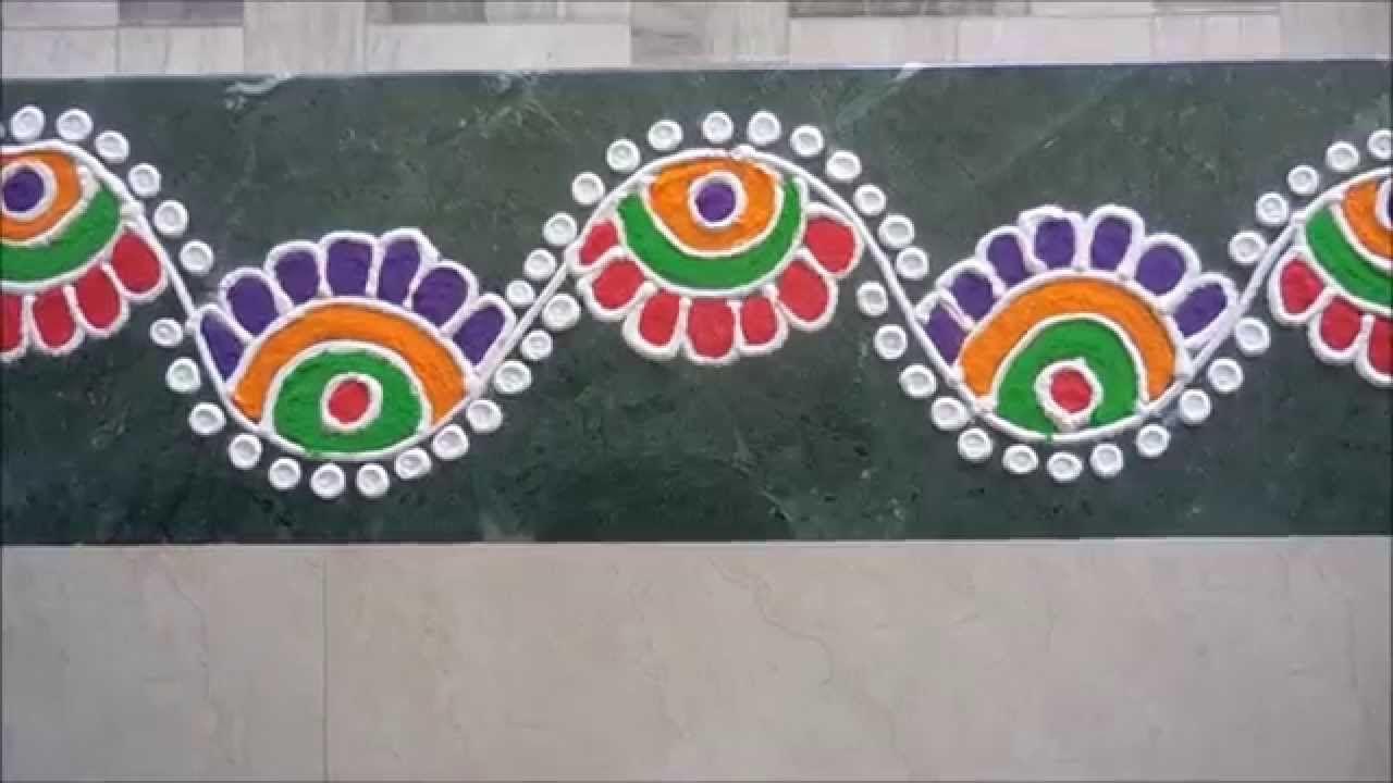 Colorful border rangoli design kolam rangoli pinterest for Door design rangoli