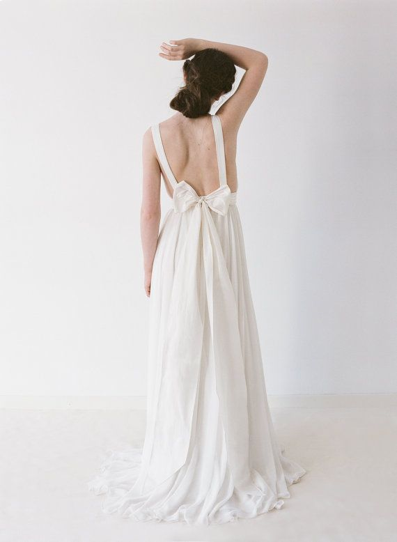 Brianna A Chiffon Backless Wedding Gown By Truvelle On Etsy