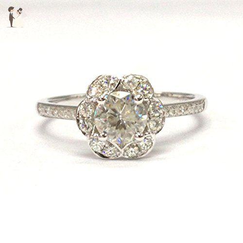 Round Moissanite Engagement Ring Pave Diamond Wedding 14K White Gold 5mm - 1.5mm Moissanites Halo - Wedding and engagement rings (*Amazon Partner-Link)