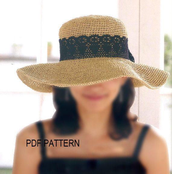 Pdf download crochet floppy hat pattern, wide big brim sun hat ...