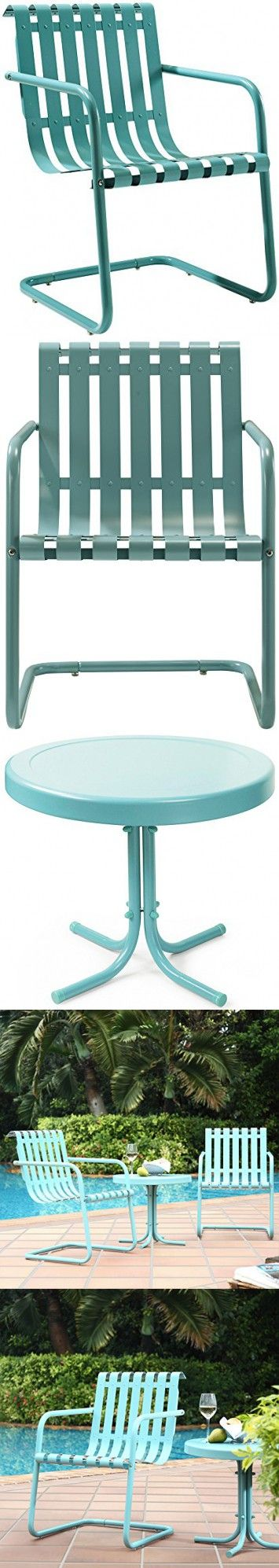 Crosley Furniture Gracie 3 Piece Retro Metal Outdoor Conversation Set With Side Table And 2 Chairs Caribbean Blue Outdoor Conversation Sets Conversation Set Outdoor