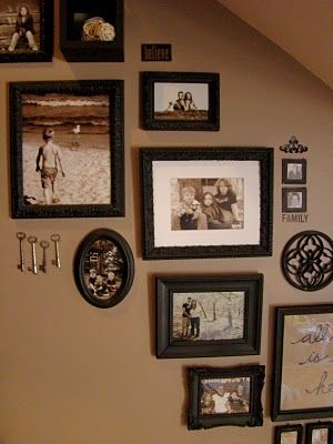 Caros Thrifty Adventures Picture Frames On Staircase Wall For