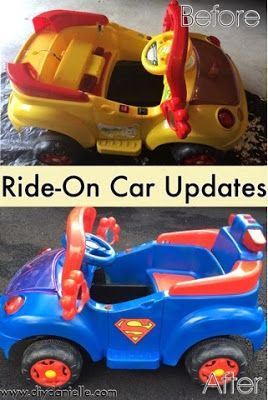 How To Make A Superman Car By Updating An Old Ride On Electric Toy Summer Diy Repurpose