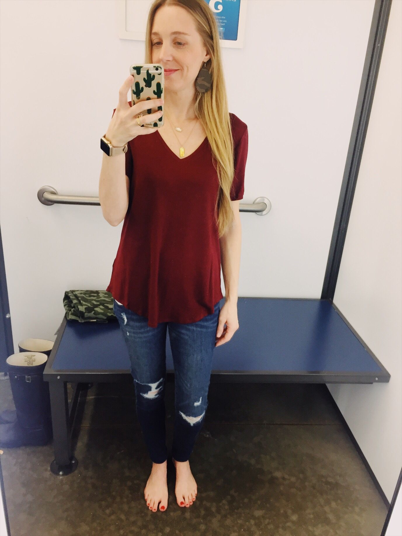 9776899a Old Navy Try On Session February 2018. Cute new looks for Spring. Wine Luxe  V-Neck Scooped Hem T Shirt, Deconstructed Jeggings.