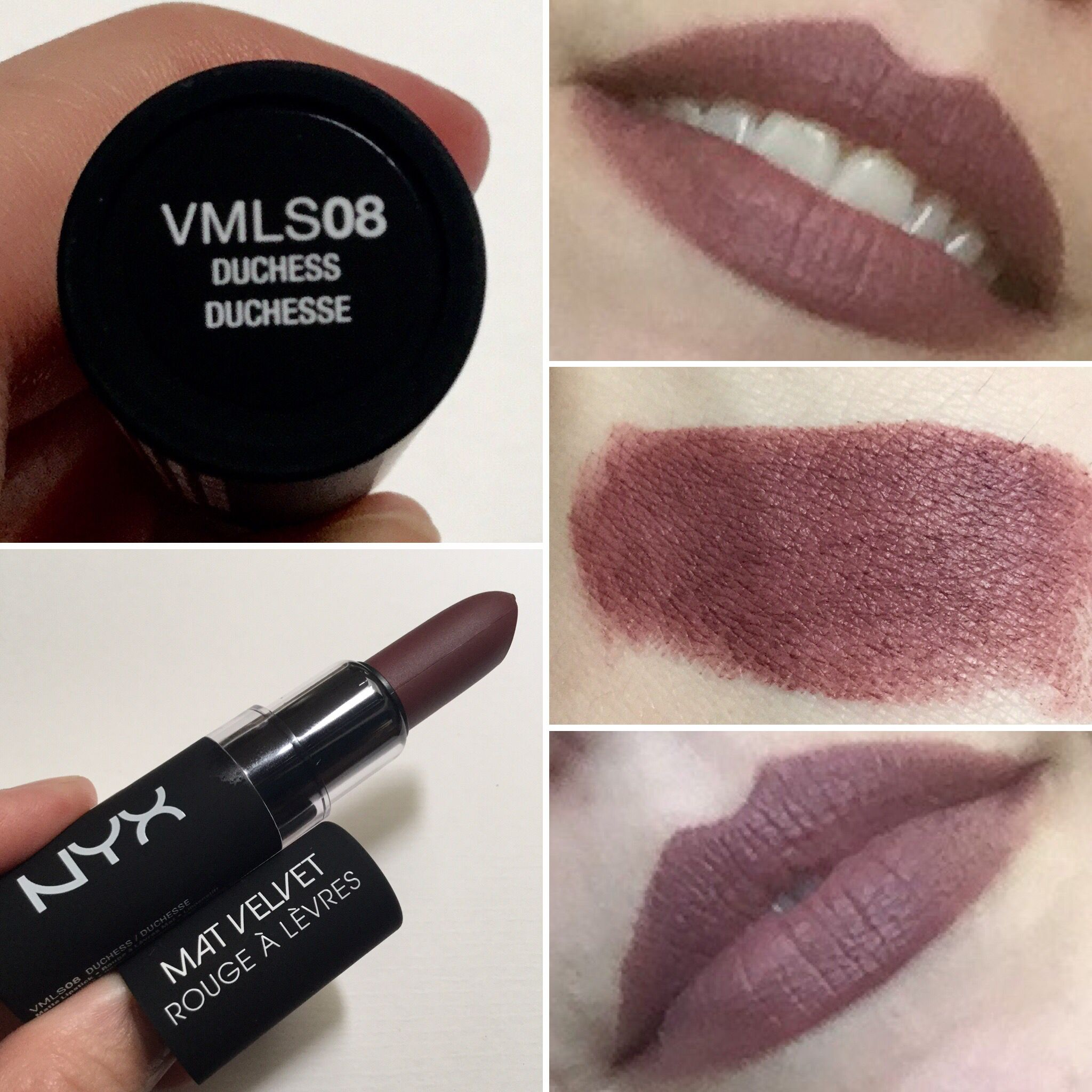 NYX Velvet Matte Lipstick in Duchess. A beautiful dark brown-pink ...