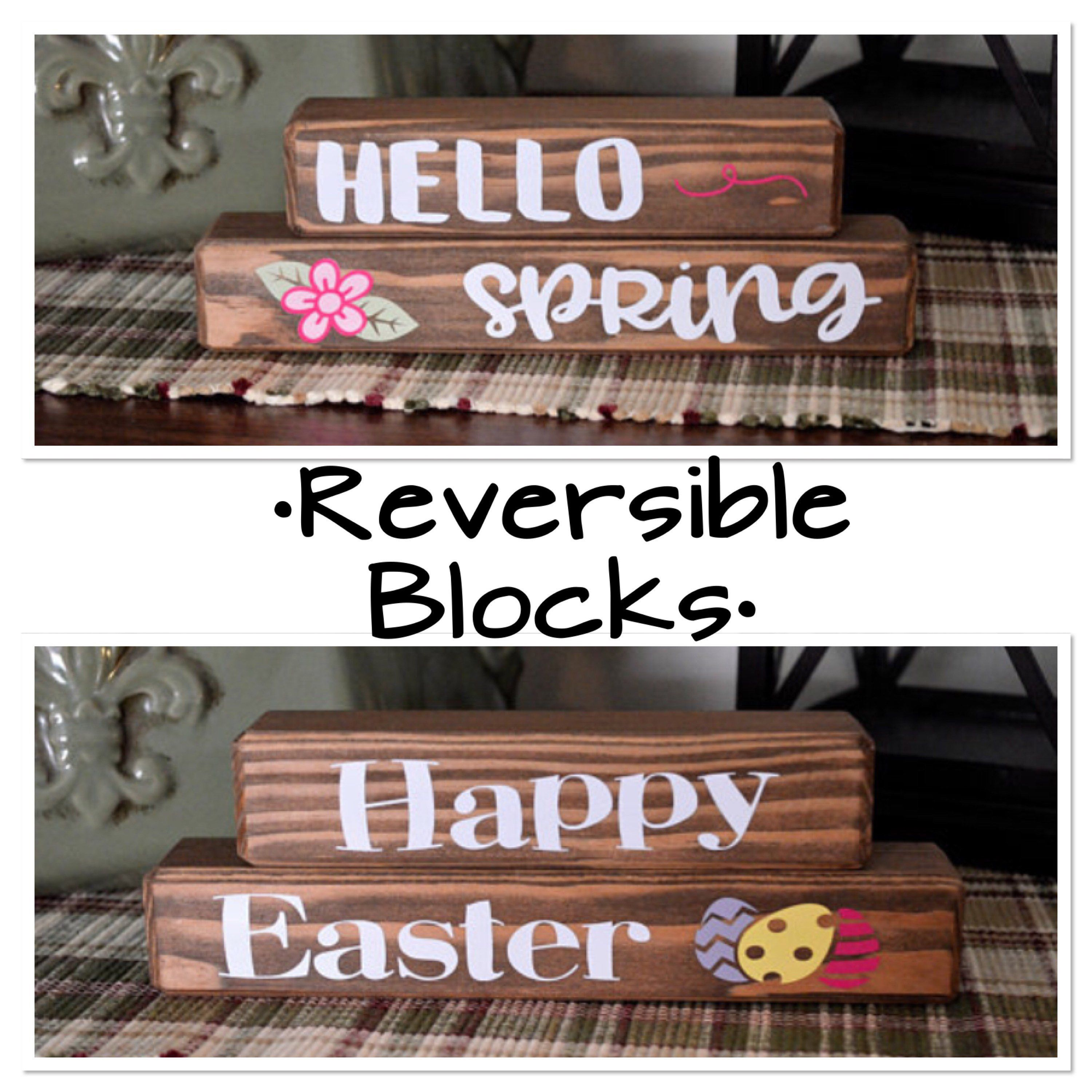 Spring Wood Blocks Easter