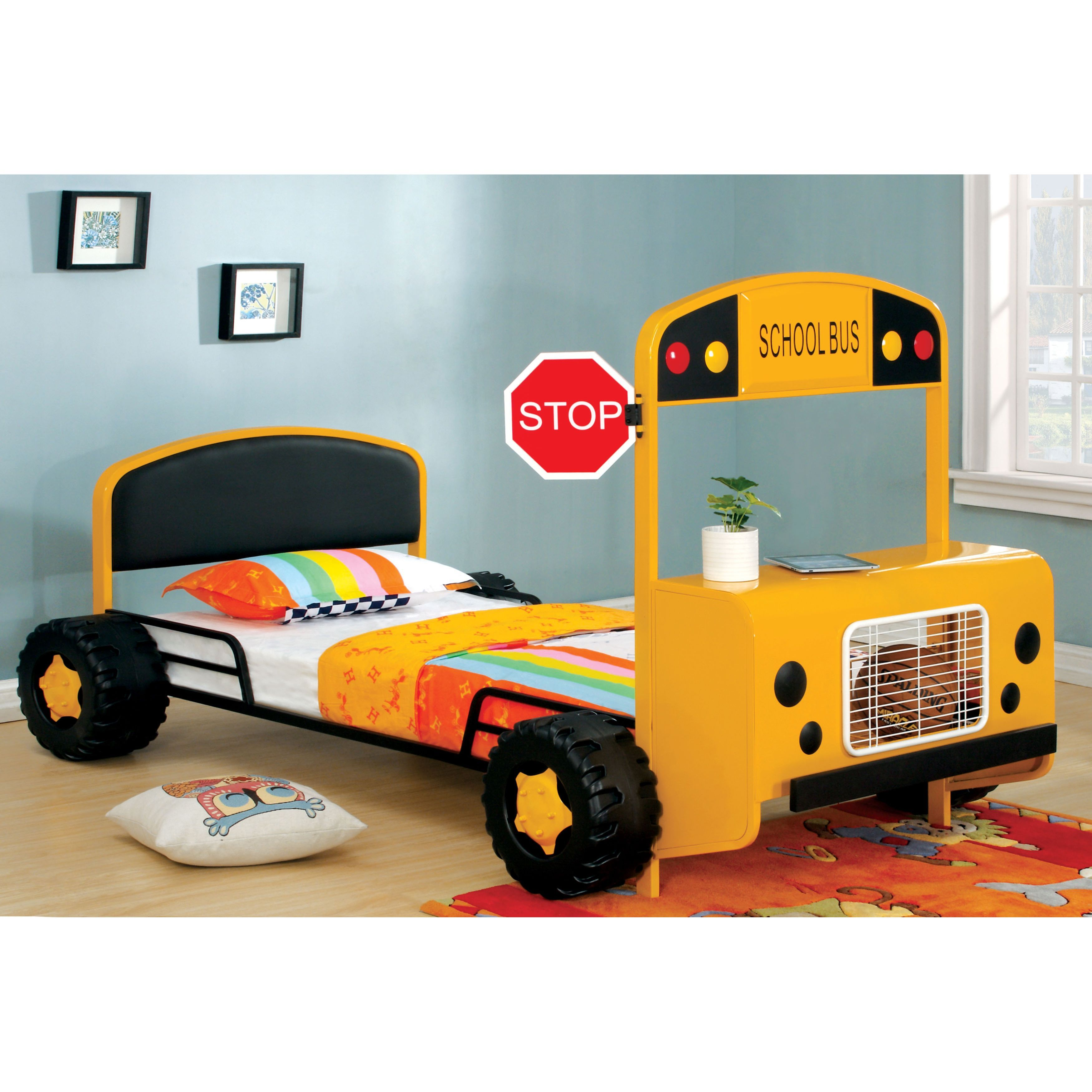 Furniture of America Elementary Bus Inspired Twin Bed (Yellow ...