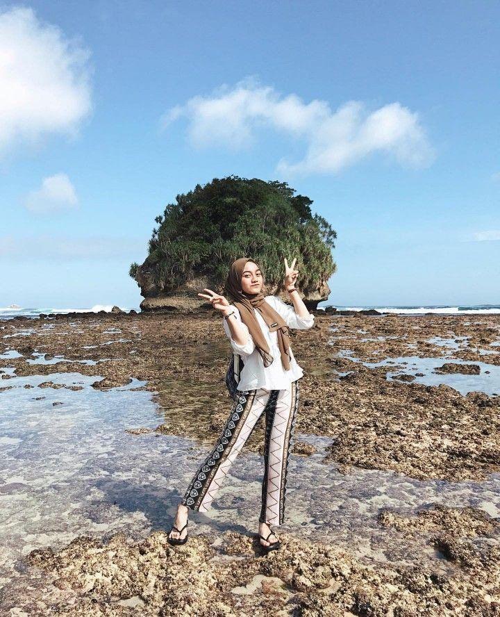 OOTD hijab untuk ke pantai di 2020 | Pakaian pantai ...