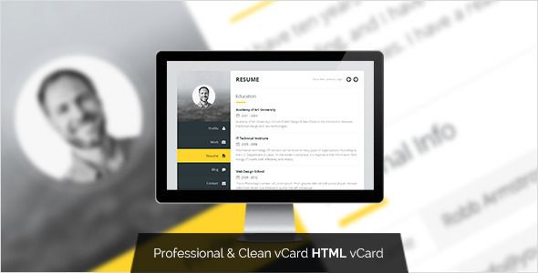 Premium Layers HTML vCard \ Resume Template Business cards and - wordpress resume template