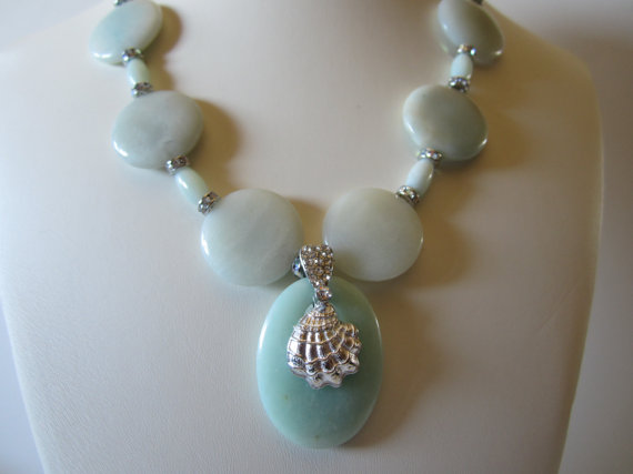 Amazonite Necklace with Shell pendant Beach Wedding by yasmi65, $32.00