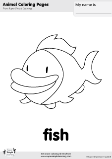 Free Fish Coloring Page From Super Simple Learning Tons Of Animal Worksheets And Flashcards
