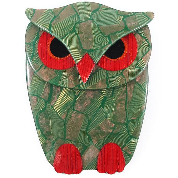 Lea Stein Owl Brooch Green  Red  Black by HarlequinMarketHQM
