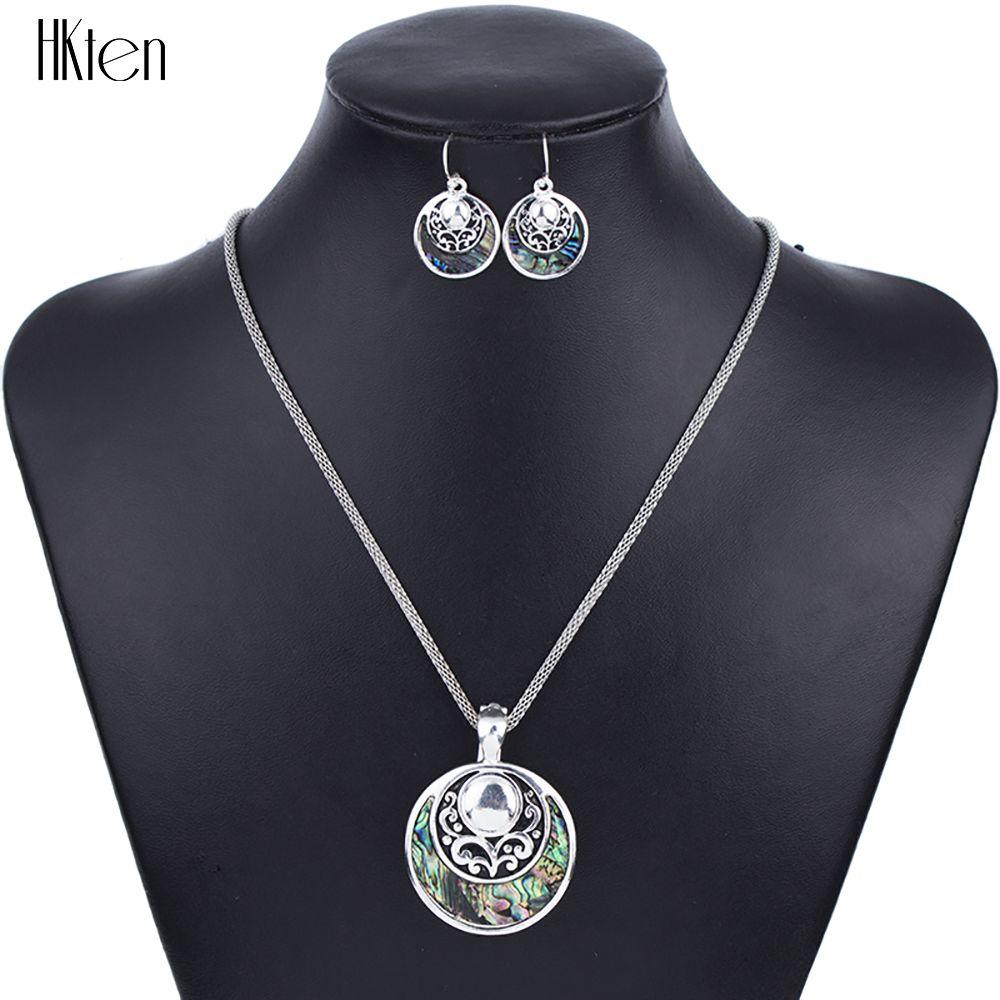 MS1504262Fashion Collar de los Sistemas Sistemas de la Joyería de Alta Calidad Para Las Mujeres Joyería de Plata Antiguo Plateado Ronda Diseño Único Regalo de la Fiesta