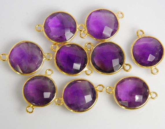 2 pieces natural amethyst gemstone bezel connector by JWbeads, $8.20