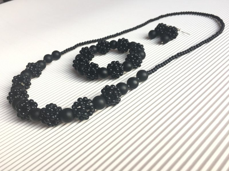 Medium Necklaces – Cluster Necklace, Bracelet,Earrings of Matte Onyx – a unique product by JewelryArtWorkshop on DaWanda