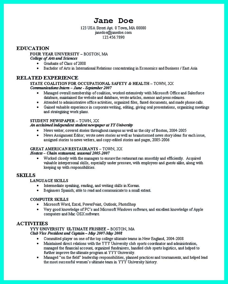 Resume College Graduate Nice Cool Sample Of College Graduate Resume With No Experience
