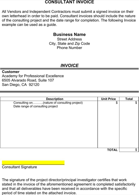 Consultant Invoice Template  TemplatesForms
