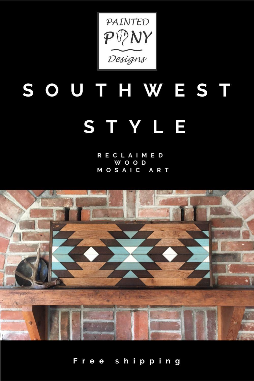 Southwest Style Reclaimed Wood Wall Art Western Wall Art Wooden Wall Art