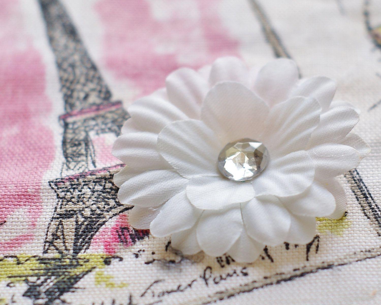 Small White Flower Cute Little White Flower Hair Bow Clipall
