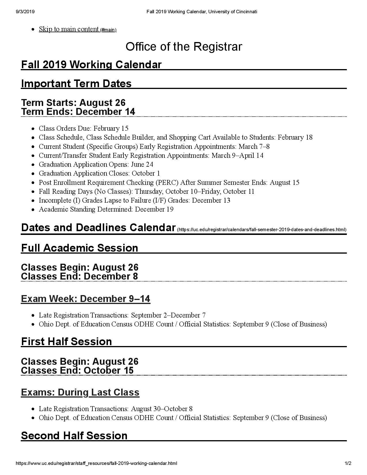 University Of Utah Academic Calendar Fall 2022.University Of Cincinnati Academic Calendar Images Https Www Youcalendars Com University Of Cincinn Academic Calendar University Of Cincinnati Class Schedule