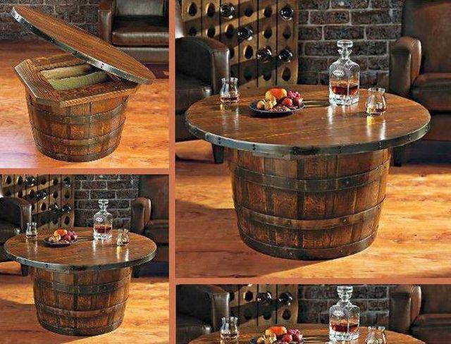 meuble original compos de vraies barriques meuble original tonneaux et table basse. Black Bedroom Furniture Sets. Home Design Ideas