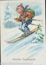 163.357 Neujahr, Kind auf Skier im Schnee, Künstler-AK