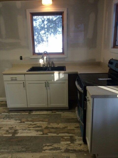 Renovated Kitchen Lowes Diamond Now Arcadia Cabinets Wilsonart Kalahari Topaz Countertops All In Stock