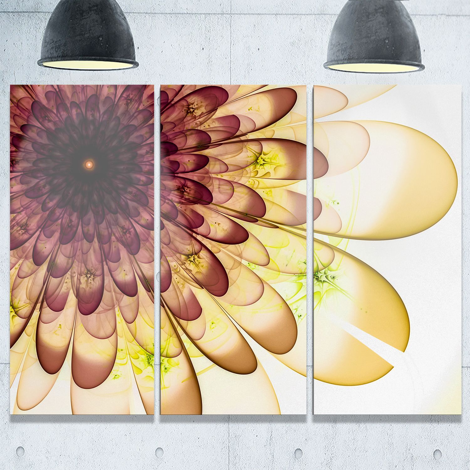 Yellow Typical Flower Fractal - Floral Glossy Metal Wall Art ...
