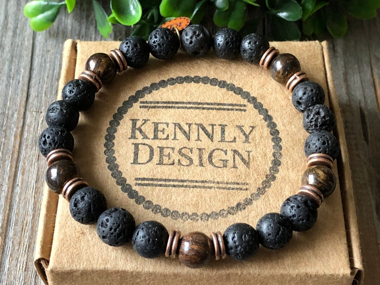 Gemstone men bracelet, beaded surf bracelet, lava stone