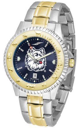 Connecticut Huskies Competitor AnoChrome Two Tone Watch by SunTime. $100.88. The ultimate Connecticut Huskies fan's statement, our Competitor Two-Tone timepiece offers men a classic, business-appropriate look. Features a 23kt gold-plated bezel, stainless steel case and date function. Secures to your wrist with a two-tone solid stainless steel band complete with safety clasp.The AnoChrome dial option increases the visual impact of any watch with a stunning radial reflection sim...