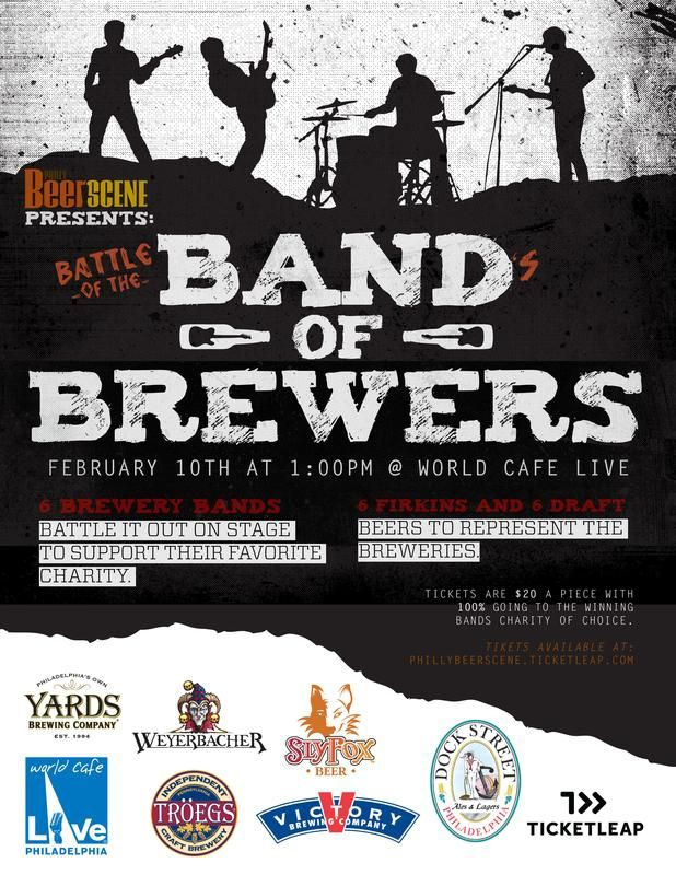 Battle of the Bands... of BREWERS! Sunday, February 10, Yards and 5 other local breweries are letting out our inner rockstars and will battle it out on stage, all for charity!