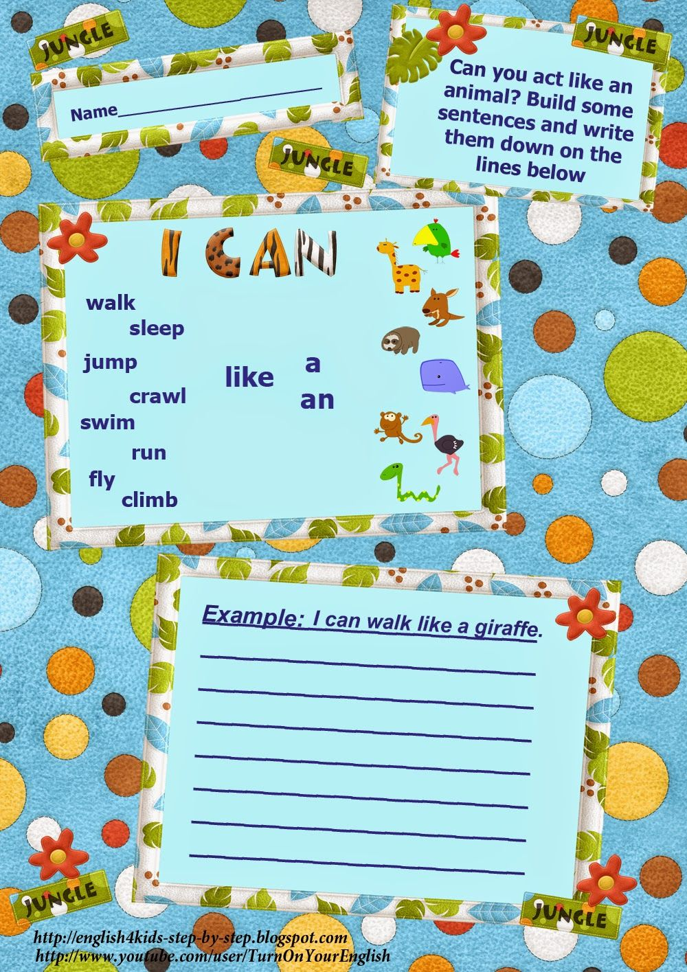 Walking through the jungle worksheet free esl printable worksheets - Action Verbs Building Sentences With The Modal Verb Can Worksheet