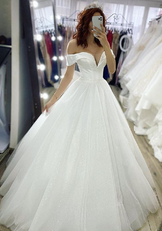 White sparkle wedding dresses glitter Off Shoulder V Neck ...